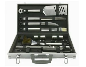 Mr. Bar-B-Q Mr. Bar-B-Q 02066x Silver Prestige 21-Piece Tool Set In Case