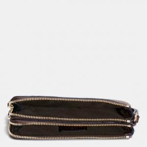 Coach Double Corner Zip Wristlet in Polished Pebble Leather