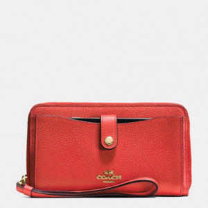 Coach Phone Wallet In Polished Pebble Leather