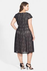Adrianna Papell Converging Banded Lace Dress