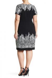 Adrianna Papell Border Detail Cap Sleeve Sheath Dress