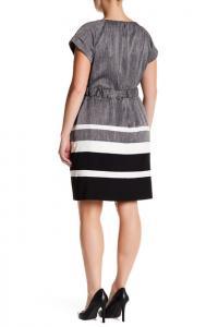 Sandra Darren Cap Sleeve Waist Belt Dress