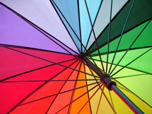 RainWorthy 60-inch Automatic Windproof Rainbow Umbrella