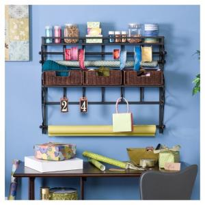 Aiden Lane Wall Mount Craft Storage Rack with Baskets