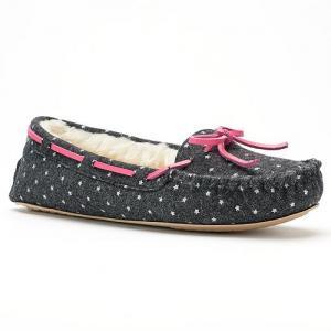 SO® Women's Starry Print Denim Moccasin Slippers