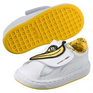 $24.99 & Free Shipping (Orig. $55) Puma Minions Basket Wrap Statement Leather Kids Sneakers
