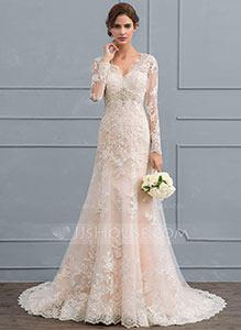 55% off Mermaid V-neck Court Train Tulle Lace Wedding Dress